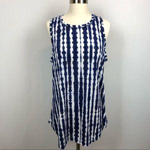 Athleta sleeveless blue/white tie dye tunic top XL
